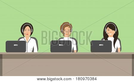 Web banner of call center workers. Young women in headphones sitting at the table on a green background. Vector illustration.