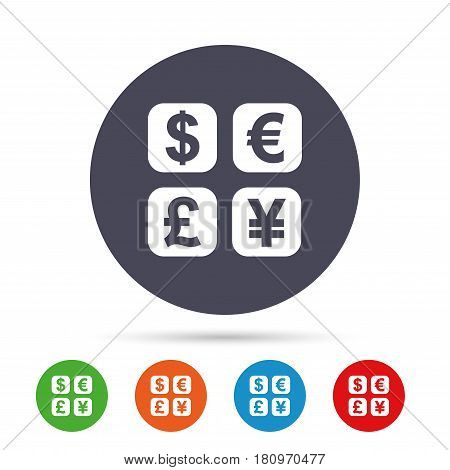 Currency exchange sign icon. Currency converter symbol. Money label. Round colourful buttons with flat icons. Vector