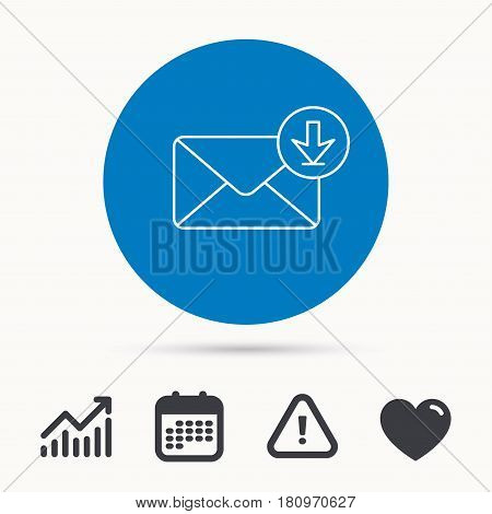 Mail inbox icon. Email message sign. Download arrow symbol. Calendar, attention sign and growth chart. Button with web icon. Vector