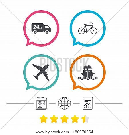 Cargo truck and shipping icons. Shipping and eco bicycle delivery signs. Transport symbols. 24h service. Calendar, internet globe and report linear icons. Star vote ranking. Vector