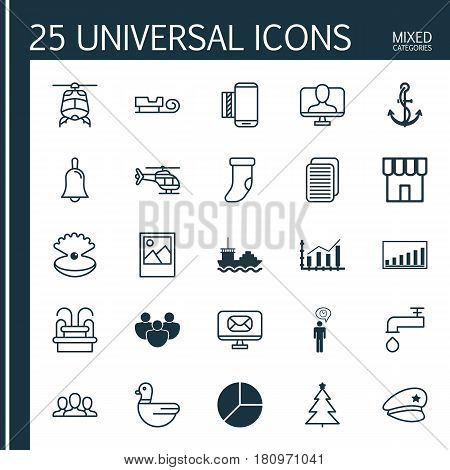 Set Of 25 Universal Editable Icons. Can Be Used For Web, Mobile And App Design. Includes Elements Such As Spigot, Sled, Shop And More.