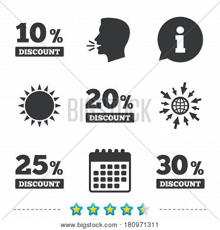 Sale discount icons. Special offer price signs. 10, 20, 25 and 30 percent off reduction symbols. Information, go to web and calendar icons. Sun and loud speak symbol. Vector
