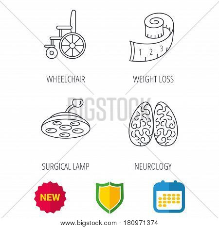 Wheelchair, neurology and weight loss icons. Surgical lamp linear sign. Shield protection, calendar and new tag web icons. Vector