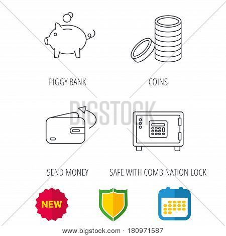 Piggy bank, cash money and wallet icons. Safe box, send money linear signs. Shield protection, calendar and new tag web icons. Vector