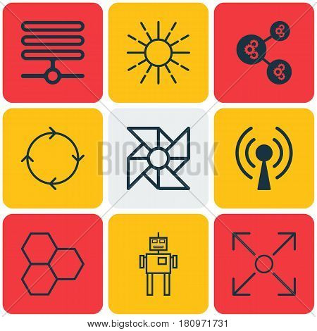 Set Of 9 Artificial Intelligence Icons. Includes Laptop Ventilator, Information Base, Cyborg And Other Symbols. Beautiful Design Elements.