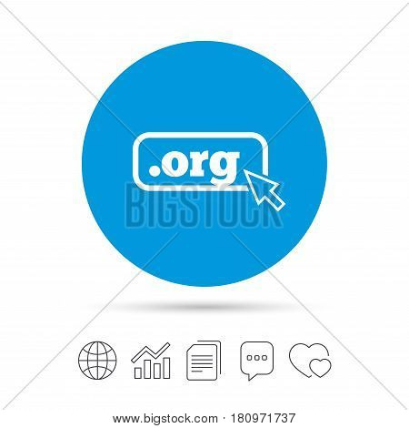 Domain ORG sign icon. Top-level internet domain symbol with cursor pointer. Copy files, chat speech bubble and chart web icons. Vector