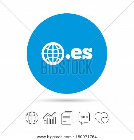 Domain ES sign icon. Top-level internet domain symbol with globe. Copy files, chat speech bubble and chart web icons. Vector