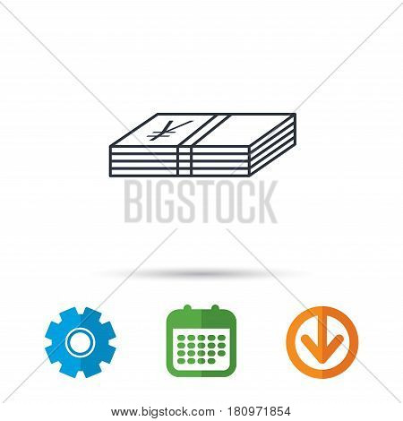 Cash icon. Yen money sign. JPY currency symbol. Calendar, cogwheel and download arrow signs. Colored flat web icons. Vector