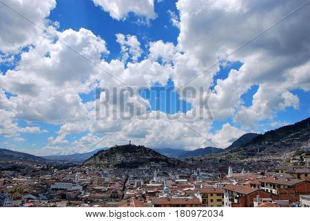 View of the old town of  Quito, Ecuador
