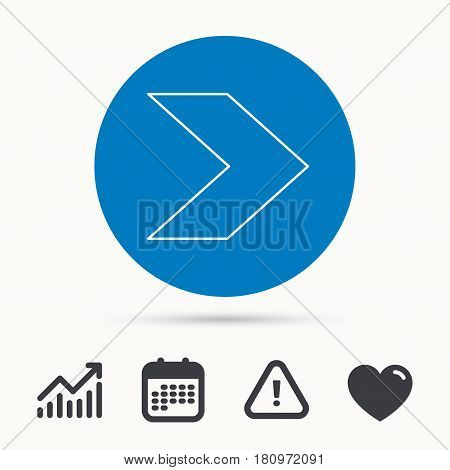 Next arrow icon. Forward sign. Right direction symbol. Calendar, attention sign and growth chart. Button with web icon. Vector