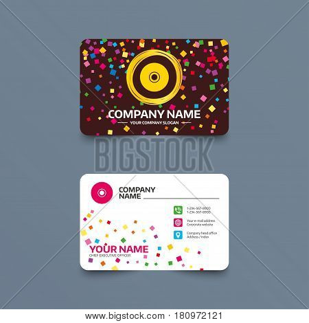 Business card template with confetti pieces. CD or DVD sign icon. Compact disc symbol. Phone, web and location icons. Visiting card  Vector