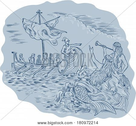 Drawing sketch style illustration of a greek tiireme navigator pointing and avoiding sirens who are waving calling at them.