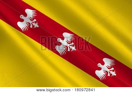 Flag of Lorraine is a cultural and historical region in north-eastern France now located in the administrative region of Grand Est. 3d illustration