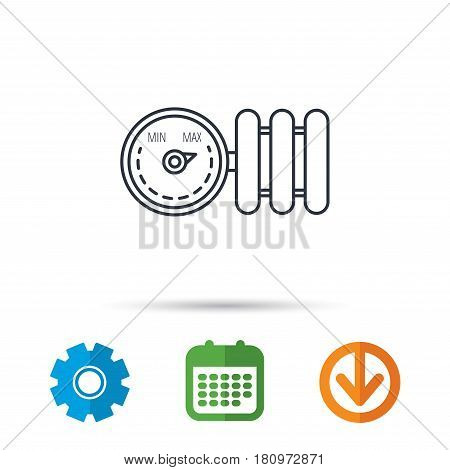 Radiator with regulator icon. Heater sign. Calendar, cogwheel and download arrow signs. Colored flat web icons. Vector