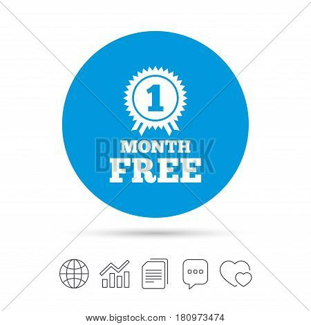 First month free medal with ribbon sign icon. Special offer symbol. Copy files, chat speech bubble and chart web icons. Vector