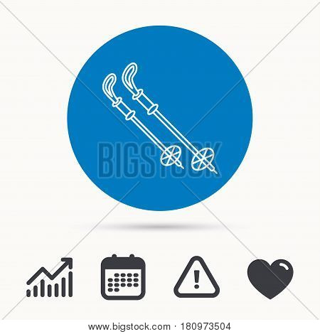 Skiing icon. Ski sticks or poles sign. Winter sport symbol. Calendar, attention sign and growth chart. Button with web icon. Vector
