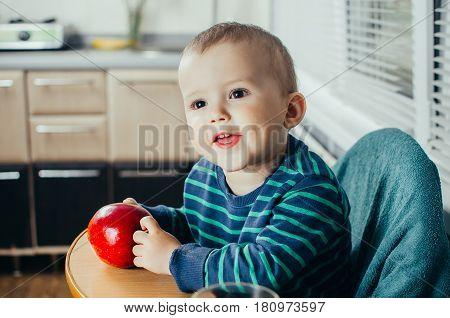 Cute Little Baby Eating Apple