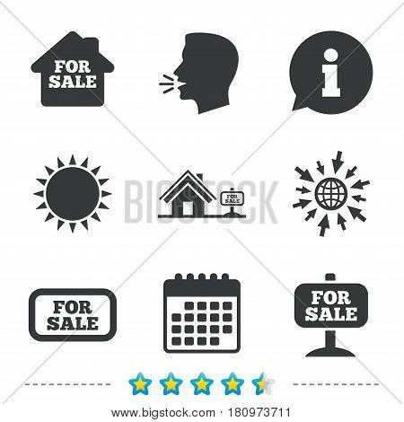 For sale icons. Real estate selling signs. Home house symbol. Information, go to web and calendar icons. Sun and loud speak symbol. Vector