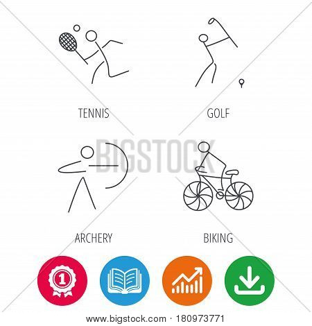 Biking, tennis and golf icons. Archery linear sign. Award medal, growth chart and opened book web icons. Download arrow. Vector