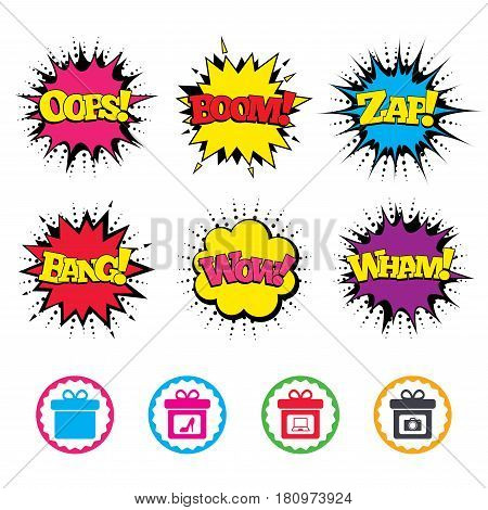 Comic Wow, Oops, Boom and Wham sound effects. Gift box sign icons. Present with bow symbols. Photo camera sign. Woman shoes. Zap speech bubbles in pop art. Vector