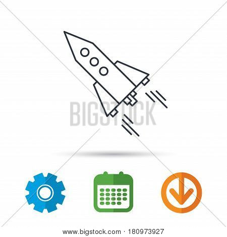 Startup business icon. Rocket sign. Spaceship shuttle symbol. Calendar, cogwheel and download arrow signs. Colored flat web icons. Vector