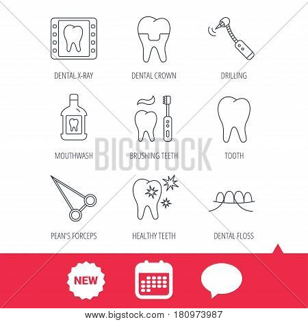 Stomatology, tooth and dental crown icons. X-ray, mouthwash and dental floss linear signs. Toothache, forceps icons. New tag, speech bubble and calendar web icons. Vector