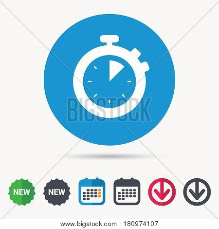 Stopwatch icon. Timer or clock device symbol. Calendar, download arrow and new tag signs. Colored flat web icons. Vector