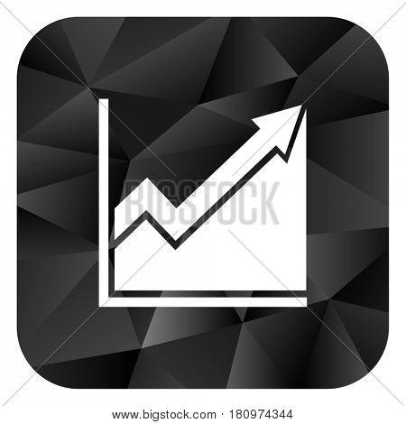 Histogram black color web modern brillant design square internet icon on white background.