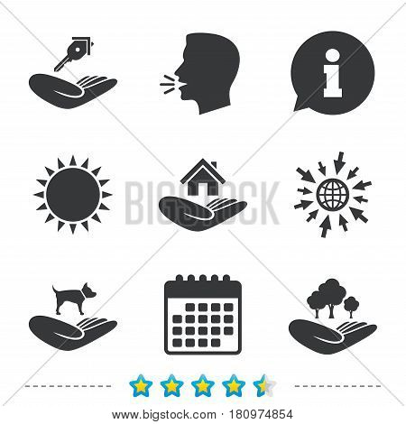 Helping hands icons. Shelter for dogs symbol. Home house or real estate and key signs. Save nature forest. Information, go to web and calendar icons. Sun and loud speak symbol. Vector