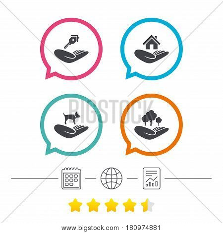 Helping hands icons. Shelter for dogs symbol. Home house or real estate and key signs. Save nature forest. Calendar, internet globe and report linear icons. Star vote ranking. Vector