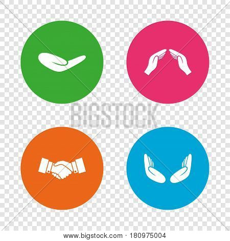 Hand icons. Handshake successful business symbol. Insurance protection sign. Human helping donation hand. Prayer meditation hands. Round buttons on transparent background. Vector