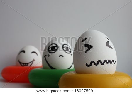 Eggs With A Cute Face. Photo For Your Design