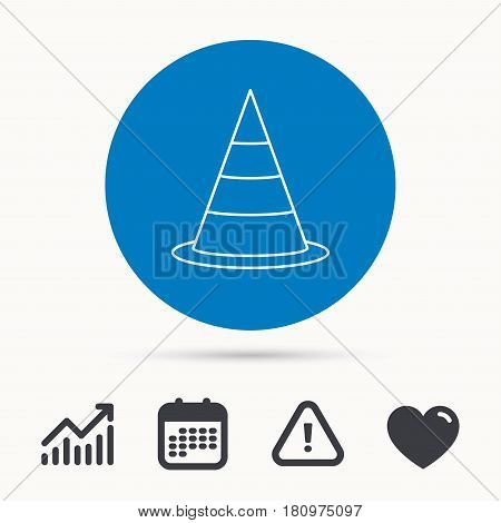 Traffic cone icon. Road warning sign. Calendar, attention sign and growth chart. Button with web icon. Vector