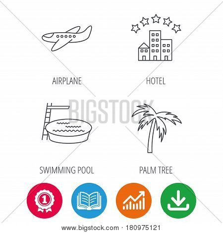 Swimming pool, airplane and palm tree icons. Hotel linear sign. Award medal, growth chart and opened book web icons. Download arrow. Vector