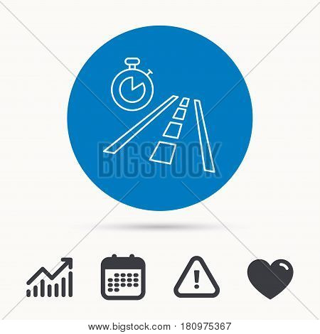 Travel time icon. Road with timer sign. Calendar, attention sign and growth chart. Button with web icon. Vector
