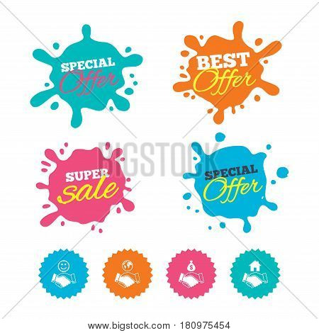 Best offer and sale splash banners. Handshake icons. World, Smile happy face and house building symbol. Dollar cash money bag. Amicable agreement. Web shopping labels. Vector