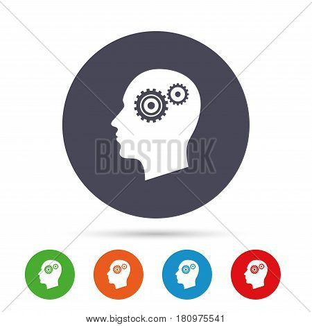 Head with gears sign icon. Male human head symbol. Round colourful buttons with flat icons. Vector