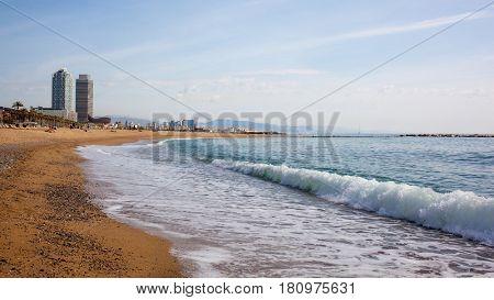 Sand beach in Badalona. Catalonia