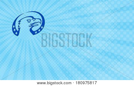 Business card showing Illustration of an american bald eagle head looking up to the side with stars done in retro style.