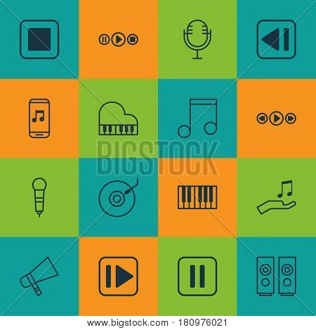 Set Of 16 Audio Icons. Includes Note Donate, Microphone, Last Song And Other Symbols. Beautiful Design Elements.