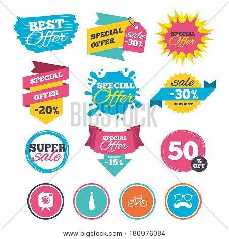 Sale banners, online web shopping. Hipster photo camera with mustache icon. Glasses and tie symbols. Bicycle family vehicle sign. Website badges. Best offer. Vector