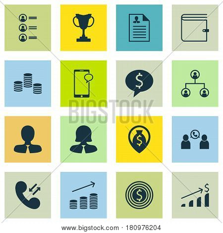 Set Of 16 Hr Icons. Includes Tournament, Curriculum Vitae, Business Deal And Other Symbols. Beautiful Design Elements.