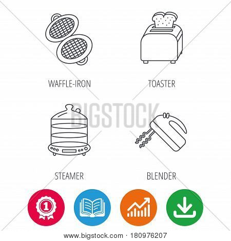 Waffle-iron, toaster and blender icons. Steamer linear sign. Award medal, growth chart and opened book web icons. Download arrow. Vector