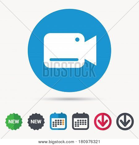 Video camera icon. Film recording cam symbol. Security monitoring. Calendar, download arrow and new tag signs. Colored flat web icons. Vector