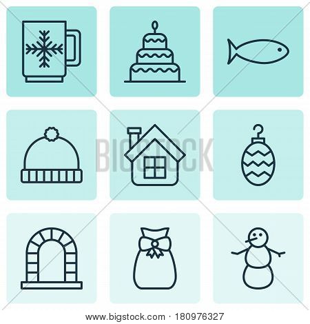Set Of 9 New Year Icons. Includes Present Pouch, Knitted Cap, Fishing And Other Symbols. Beautiful Design Elements.
