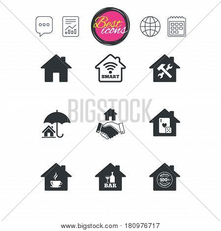 Chat speech bubble, report and calendar signs. Real estate icons. House insurance, broker and casino with bar signs. Handshake deal, coffee and smart house symbols. Classic simple flat web icons