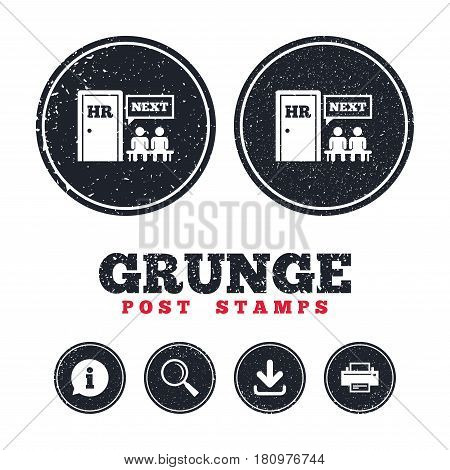 Grunge post stamps. Human resources sign icon. Queue at the HR door symbol. Workforce of business organization. Information, download and printer signs. Aged texture web buttons. Vector