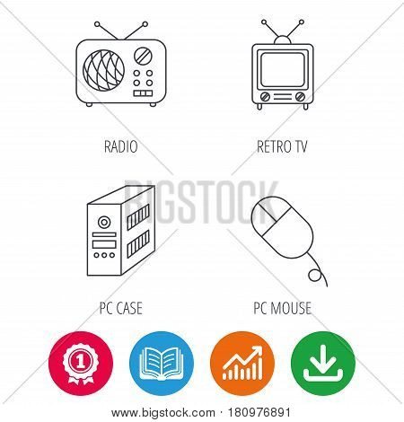 Radio, retro TV and PC mouse icons. PC case linear sign. Award medal, growth chart and opened book web icons. Download arrow. Vector