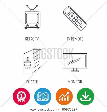 Retro TV, monitor and pc case icons. TV remote linear sign. Award medal, growth chart and opened book web icons. Download arrow. Vector