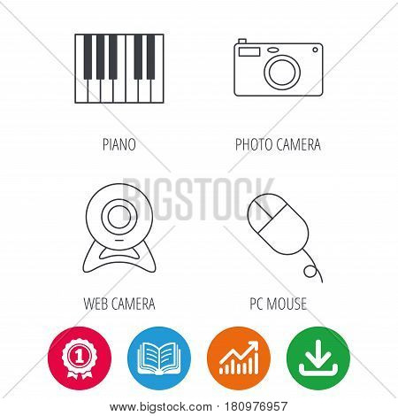 Piano, web camera and photo camera icons. PC mouse linear sign. Award medal, growth chart and opened book web icons. Download arrow. Vector